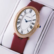 Cartier Baignoire crimson satin strap pink gold diamond womens watch replica