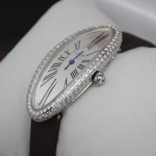 Cartier Baignoire imitation swiss diamond watch 18K white gold for women