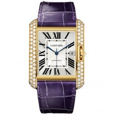 Cartier Tank Anglaise watch WT100022 18K yellow gold blue leather strap