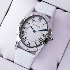 Cartier Baignoire white leather strap steel large imitation watch