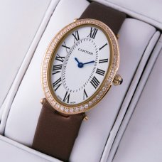 Cartier Baignoire coffee satin strap pink gold diamond womens watch replica