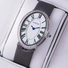 Cartier Baignoire grey satin strap diamond watch replica for women