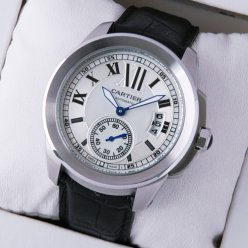 Calibre de Cartier automatic watch W7100037 black leather strap