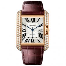 Cartier Tank Anglaise WT100021 watch 18K pink gold brown leather strap